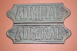 Tiki Bar Boathouse / Cast Iron Admiral Wall Plaque, 8 1/2 Inch, Bl-45 - 2 Items