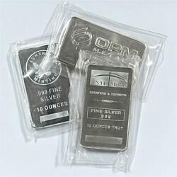 10 oz .999 Silver Bar Random Hallmark Circulated 10oz Silver Bullion #A204