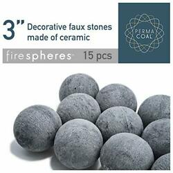 Bond Manufacturing Ceramic Fire Balls-set Of 15-fire Pit, Fire Spheres Grey New
