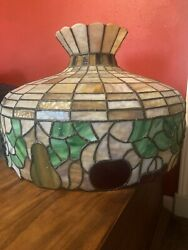 """Original, Vintage 1900's Type Pear Shaped, Stained, 19"""" Glass Shade"""