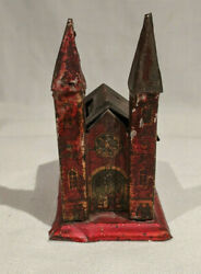 1890's-1914 Penny Toy Tin Gothic Church With Two Steeples German Still Bank