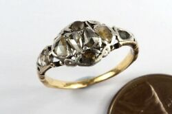 Early Antique Georgian English 18k Gold And Silver Rose Cut Diamond Ring C1760