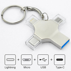 4 In 1 Flash Drive For Iphone Ipad Android Type C Otg Usb 3.0 Pen Drive Key Ring