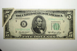 1950a 5 Frn Small Size Error Note Large Gutter Fold Very Fine Snc58325332a
