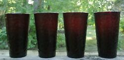 Four Ruby Red Tumbler Glasses Arc France Vercors Hammered 15-3/4oz