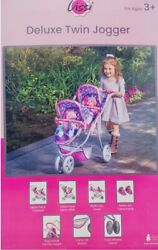 Lissi 77500pr Twin Baby Doll Stroller, Pink