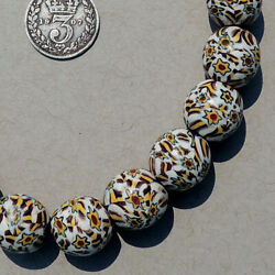 19 Old Antique Venetian Shooting Star Round Millefiori African Trade Beads 4888