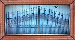 Wrought Iron Style Dual Swing Driveway Gate 16 Ft Wd Residential Home Security