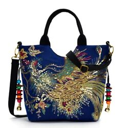 WOMEN HAND BAG CANVAS TOTES BAG Shiny Sequins Peacock Embroidered Summer BAG $52.50