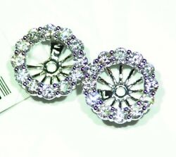 14k Gold Natural Round Diamond Halo Engagement Earring Jackets 7mm Vintage