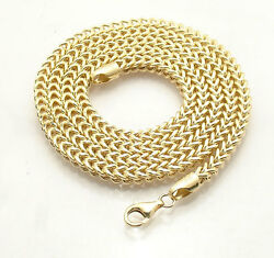 Mens Shiny Square Franco Link Chain Necklace Real 10k Yellow Gold 26 28 30
