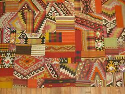 Vintage Crazy Turkish Anatolian Patchwork Kilim Rug Size 6and0394and039and039x10and0395and039and039