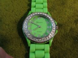 Geneva Lime Green N Bling Silicone Band Runs Well N Fits Sizes 6-8-silvertone