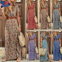 Womens Summer V neck Long Maxi Dress Ladies Casual Holiday Floral Beach Sundress $6.99