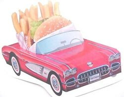 6 Assorted Cardboard Classic Cars Kids Food Box Tray Table Center Party Planner