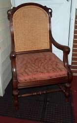 Karpen Accent Chair Vintage Cane Back Carved Wood Parlor Antique Furniture Seat