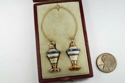 Boxed Antique Georgian Gold And Porcelain Urn Shaped Seal Fob / Charm Pair C1780