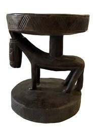 African Dogon Carved Wood Milk Stool W/ Horses Mali 12.75 H By 10 D