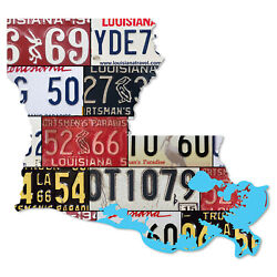 Louisiana License Plate Map Cut Sign Sportsmanand039s Paradise State License Plates