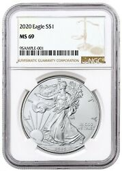 2020 1oz Silver Eagle NGC MS69 Brown Label $39.99