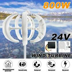 800W 24V 5 Blade Wind Turbine Generator Vertical Axis Unit w Charge Controller $199.99