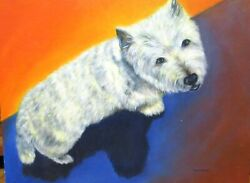 Donna Stover West Highland White Terrier Dog Original Oil On Canvas Painting