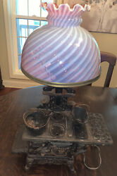 Vintage Rare Crescent Cast Iron Mini Toy Stove With Pink Depression Glass Lamp