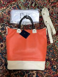 Diane von Furstenburg Womens Off White Orange Black Bucket Leather Tote Bag $42.99
