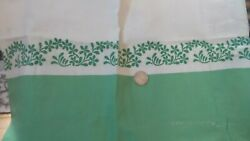 Vintage Cotton Feed Sack, Feedsack Fabric Green Squiggel Floral, Green Border
