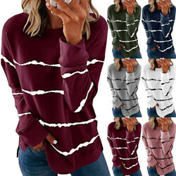 Women Long Sleeve Crew Neck T Shirt Casual Stripe Print Blouse Loose Tunic Tops $14.50
