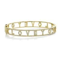 Diamond Love You Inscribed Letters Bangle 14k Yellow Gold Bracelet Round Cut