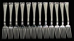 And Co 12 Lap Over Edge Sterling Silver 7 1/2 Place Forks