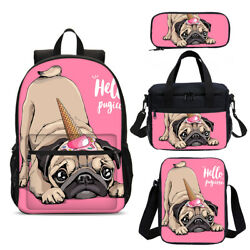 Pink Pug Girls Schoolbag Cooler Backpack Insulated Lunch Box Pencil Case Lot