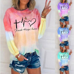 Women Crew Neck Long Sleeve Blouse Casual Tie dye Print T Shirt Loose Tunic Tops $13.99