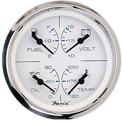 Faria 4 Multifunction 4 In 1 Combination Boat Fuel Water Oil Volts Gauge White
