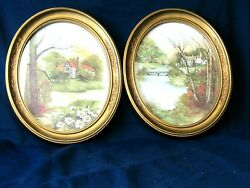 Homco Home Interior Pictures Gold Oval Frames Home Scenes Lake Set Of 2