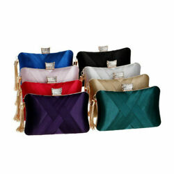 Women#x27; Evening Clutches Bags Silk Satin Party Handbags Bridal Wedding Prom Purse $22.58