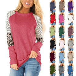 Women Long Sleeve Crew Neck Blouse Leopard Print Splice T Shirt Casual Loose Top $14.99