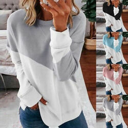 Women Stitching Color Crew Neck Blouse Long Sleeve T Shirt Casual Loose Fit Tops $14.99