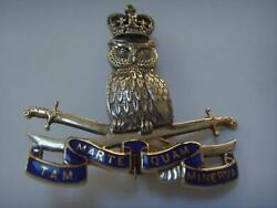 Owl And Cross Swords 9ct White And Yellow Gold Diamond Military Brooch Garrards And Co