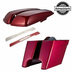 Hard Candy Hot Rod Red Flake 4.5 Stretched Extended Saddlebags For 14+ Harley