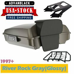 Advanblack River Rock Grayglossy Razor Tour Pack Trunk Luggage For Harley 97+