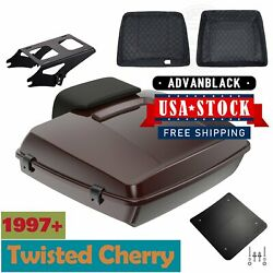 Advanblack Twisted Cherry Razor Tour Pack Trunk Luggage For 97+ Harley Touring