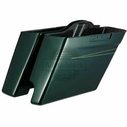 Single Cut Out Deep Jade Pearl Stretched Saddlebag Bottom For 14+ Harley Touting
