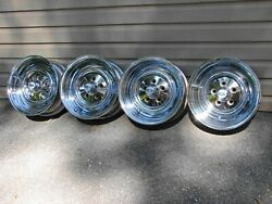 Vintage Chrome 14x6 Reverse Wheels W/ Cragar Center Caps 5x4.5 Bc Ford Mopar Amc