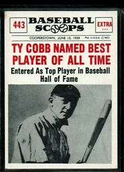 1961 Nu-cards Scoops Baseball Tigers Ty Cobb Best Player Alltime Card 443 Vg-ex