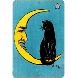 Vintage Cat Metal Sign 8x12 Black Cat Sitting Crescent Man In Moon Star Drawing