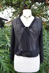 Black iridescent rhinestones sheer blouse top Spoiled Small S bow front LS CUTE