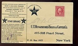 Scott 344 U. T. Hungerford Brass And Copper Control Perf Vending Stamp On Cover