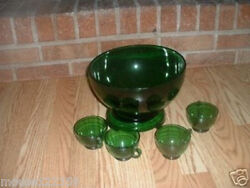 Fire-king Anchor Hocking Forest Green Punch Bowl Set